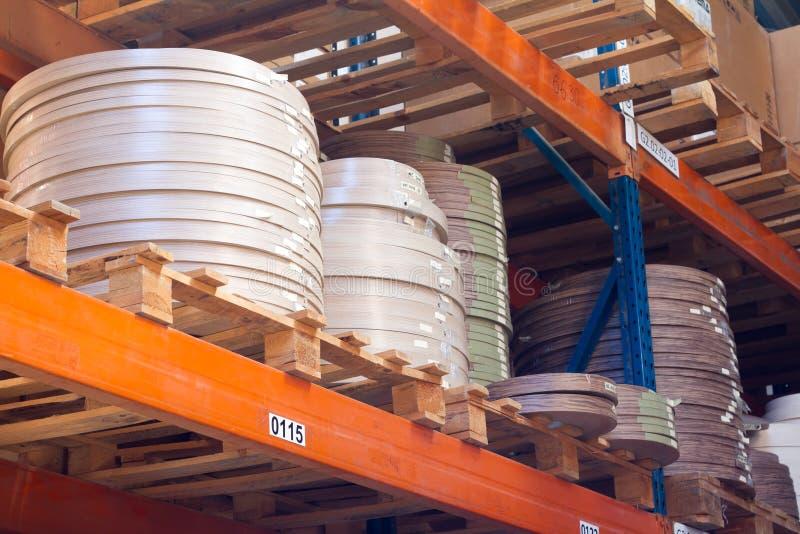 De toebehoren van het meubilair Multicolored spoelen van de rand en de melanine van pvc voor de vervaardiging van meubilair Lig p stock foto