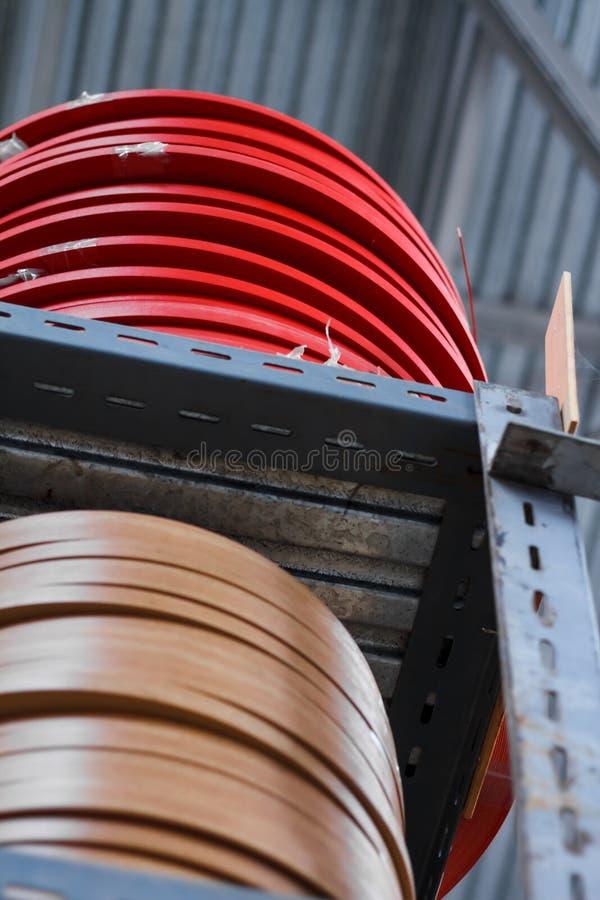 De toebehoren van het meubilair Multicolored spoelen van de rand en de melanine van pvc voor de vervaardiging van meubilair Lig p stock afbeelding