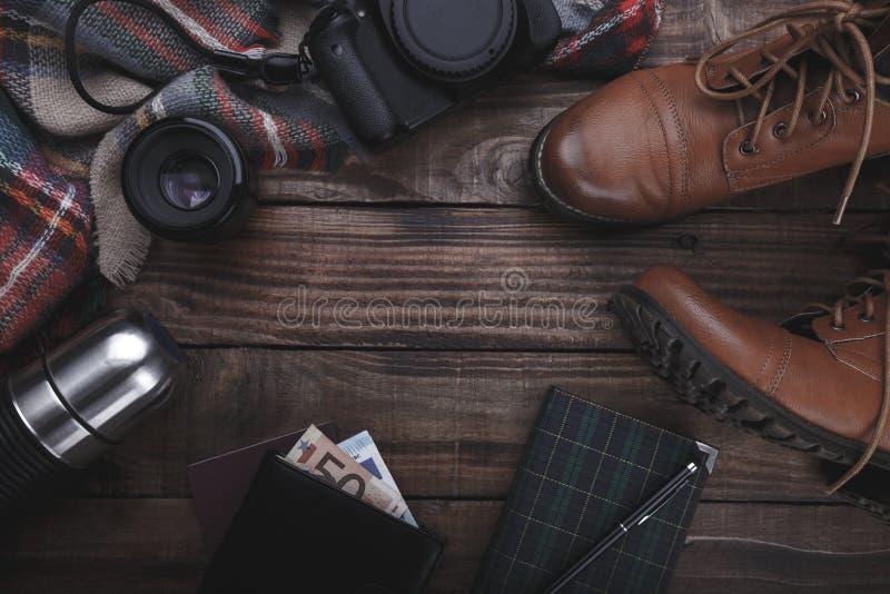 De toebehoren van de reizigers` s fotograaf ` s royalty-vrije stock fotografie