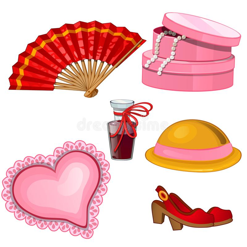 De toebehoren van vrouwen - ventilator, schoenen, parfum, hoed, juwelendoos, kussen royalty-vrije illustratie