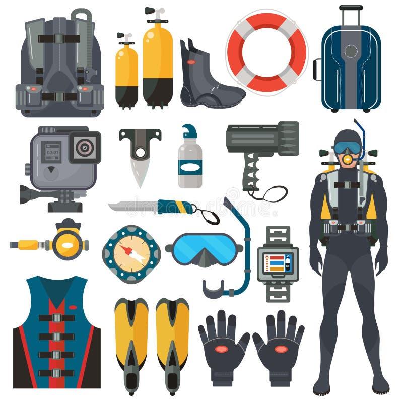 De toebehoreninzameling van het vrij duikenmateriaal Duikermens in onderwaterwetsuit vector illustratie