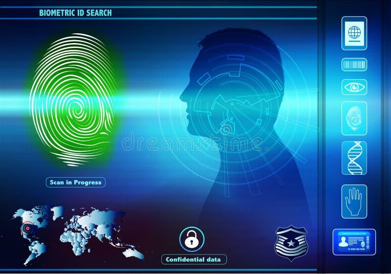 De toegang van veiligheidsgegevens met menselijke biometrische identificatie Achtergrond met de mens in silhouetprofiel met groen vector illustratie