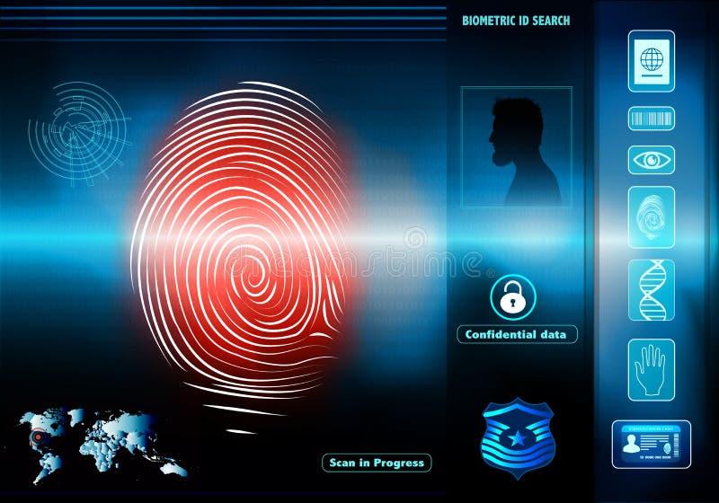 De toegang van veiligheidsgegevens met menselijke biometrische identificatie Achtergrond met de mens in silhouetprofiel met rode  royalty-vrije illustratie