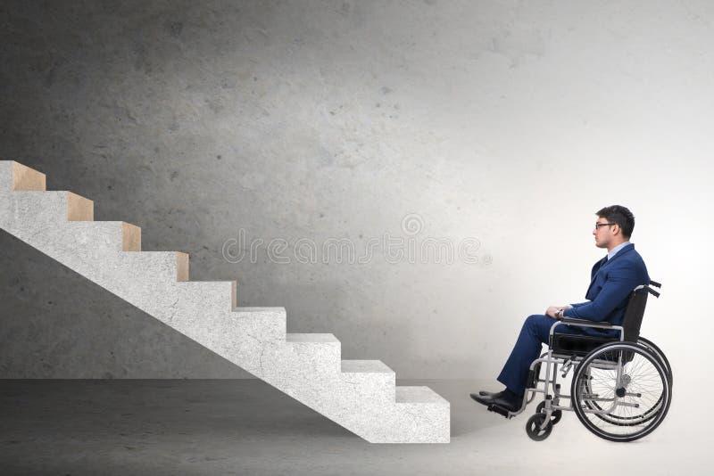De toegankelijkheid concepth met rolstoel voor gehandicapten stock afbeeldingen