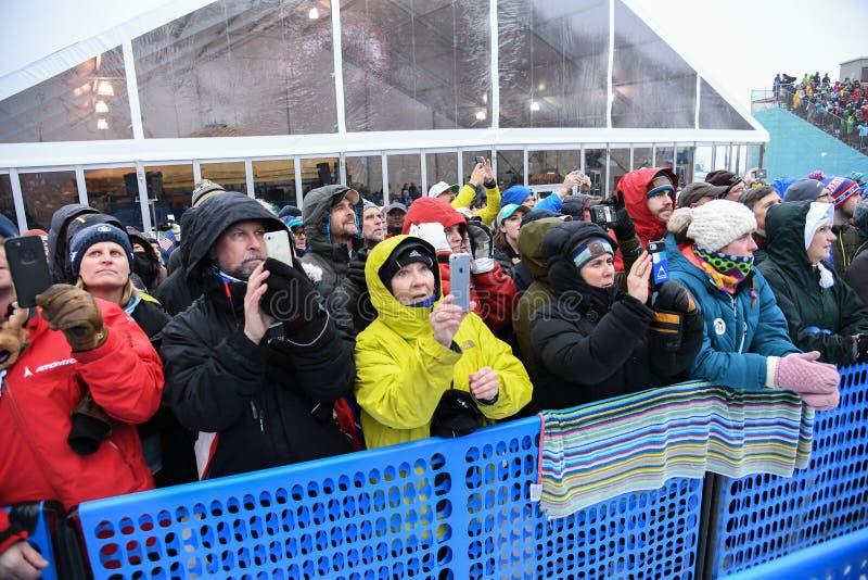 De toejuiching van rasventilators tijdens het de Slalomras van de Vrouwen tijdens Audi FIS Ski World Cup stock foto