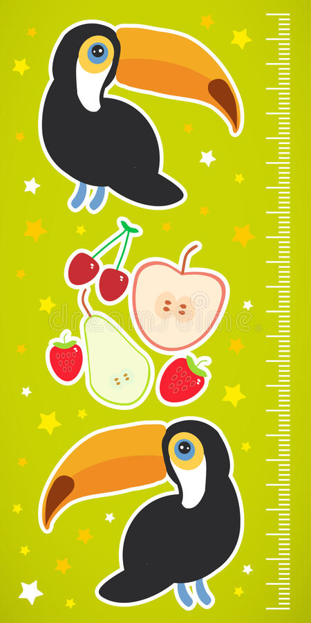 De toekanvogel en de de aardbeikers van de appelpeer op groene achtergrondkinderenhoogte meten muursticker Vector royalty-vrije illustratie