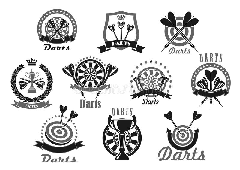 Pijltjespictogrammen Met Pijlen En Dartboard Vector