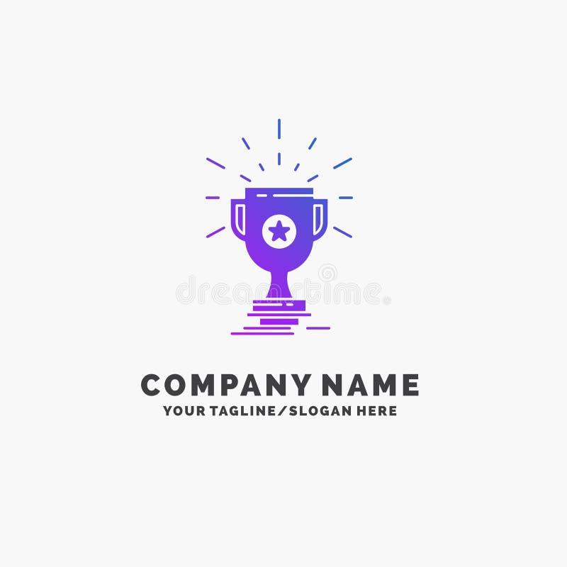 de toekenning, trofee, prijs, winst, vormt Purpere Zaken Logo Template tot een kom Plaats voor Tagline royalty-vrije illustratie