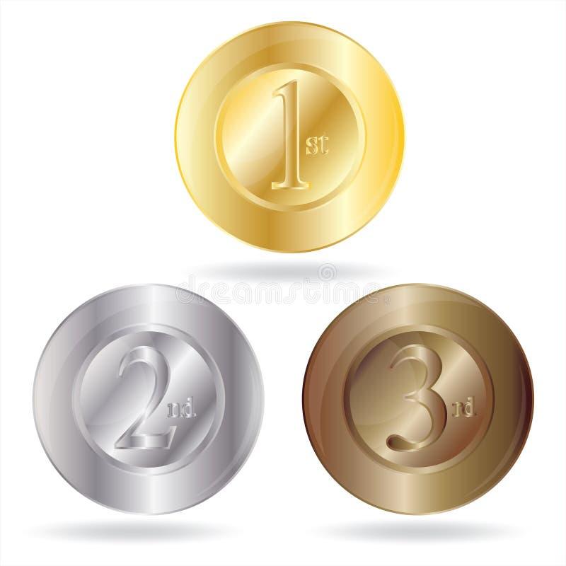 De toekenning van de medaille voor eerst, tweede en derde plaats. royalty-vrije illustratie
