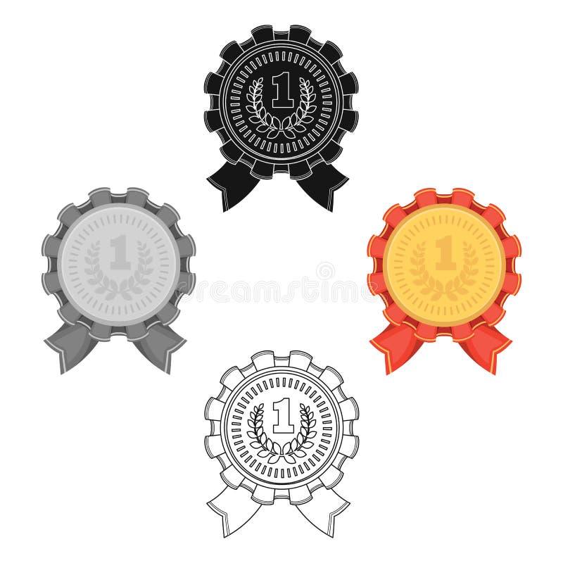 De toekenning voor eerste plaats Gouden medaille met het rode lint van winnaarolympics De toekenning en de trofee?n kiezen binnen royalty-vrije illustratie