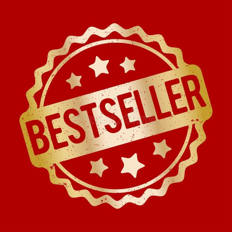 De toekennings vectorgoud van de best-seller rubberzegel op een rode achtergrond royalty-vrije illustratie
