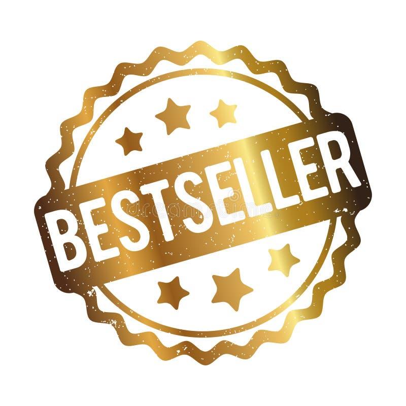 De toekennings vectorgoud van de best-seller rubberzegel op een witte achtergrond royalty-vrije illustratie