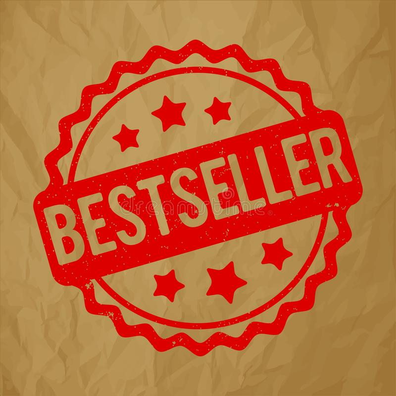 De toekennings vectorrood van de best-seller rubberzegel op een verfrommelde document bruine achtergrond vector illustratie