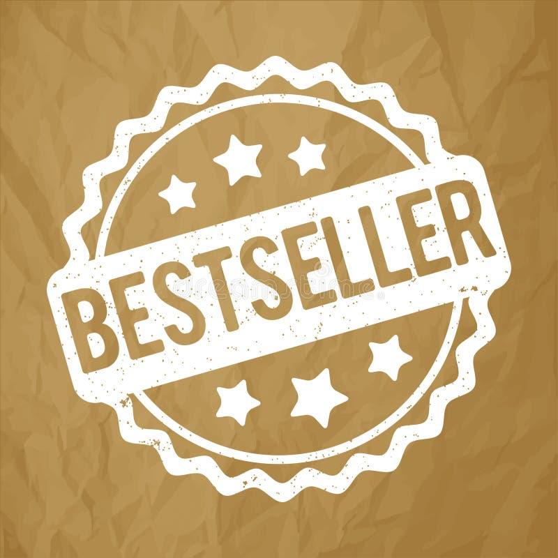 De toekennings vectorwit van de best-seller rubberzegel op een blauwe bokehachtergrond royalty-vrije illustratie
