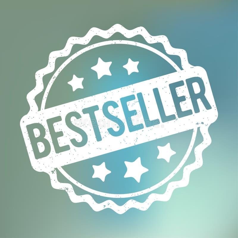 De toekennings vectorwit van de best-seller rubberzegel op een blauwe bokehachtergrond stock illustratie