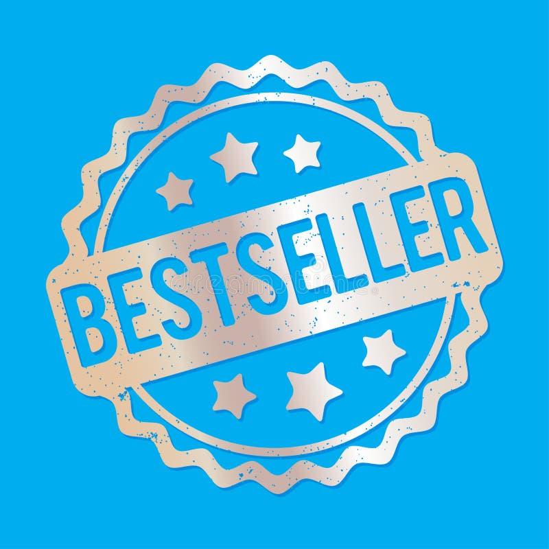 De toekennings vectorzilver van de best-seller rubberzegel op een blauwe achtergrond stock illustratie