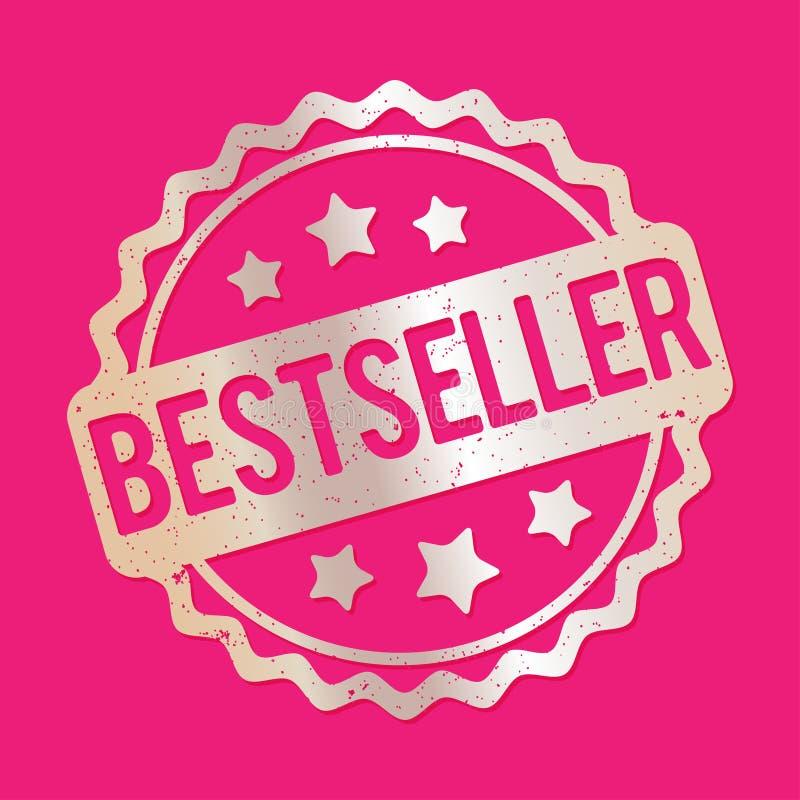 De toekennings vectorzilver van de best-seller rubberzegel op een roze achtergrond stock illustratie
