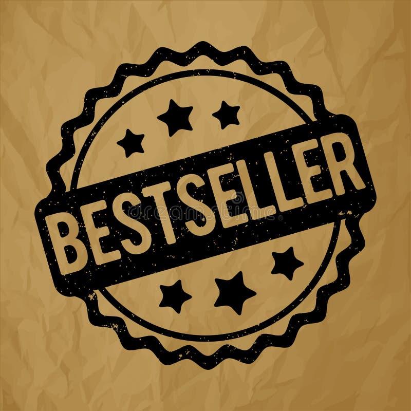 De toekennings vectorzwarte van de best-seller rubberzegel op een verfrommelde document bruine achtergrond royalty-vrije illustratie