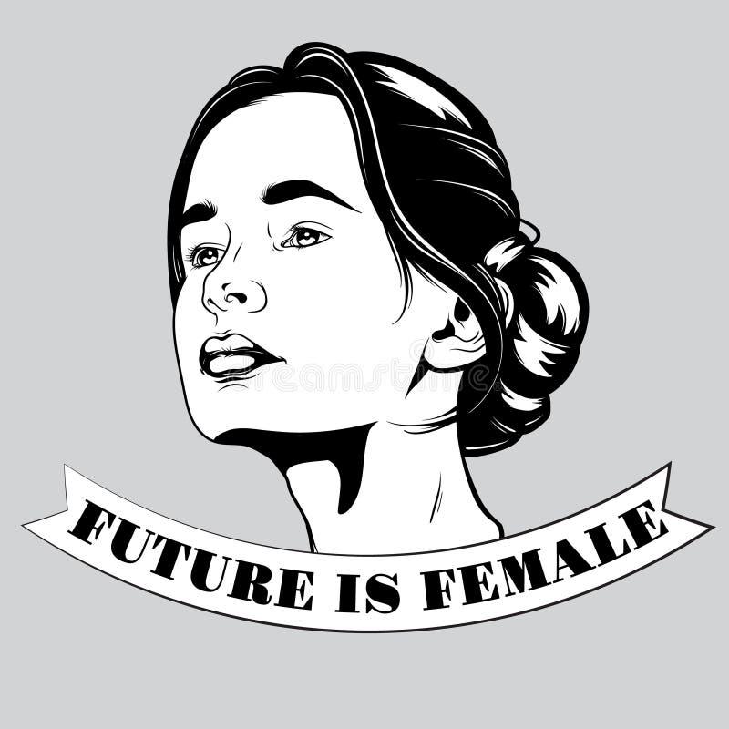 De toekomst is vrouwelijk Vectorhand getrokken illustratie van mooi meisje royalty-vrije illustratie