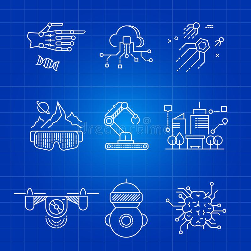 De toekomstige AI technologie en robotconcepten van de kunstmatige intelligentie dunne lijn royalty-vrije illustratie