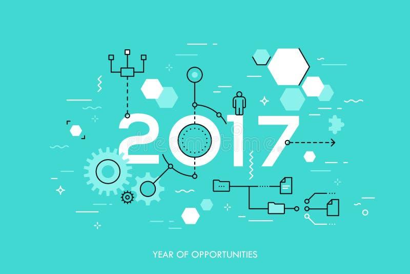 De toekomstige ontwikkelingen en de vooruitzichten in zaken verwerken organisatie, het structureren, voorzien van een netwerk, me vector illustratie
