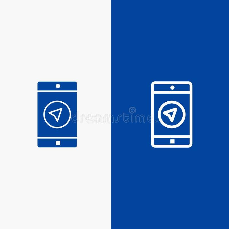 De toepassing, Bericht, Mobiele toepassingen, poniter voert en Lijn van de het pictogram Blauwe banner van Glyph de Stevige en St royalty-vrije illustratie
