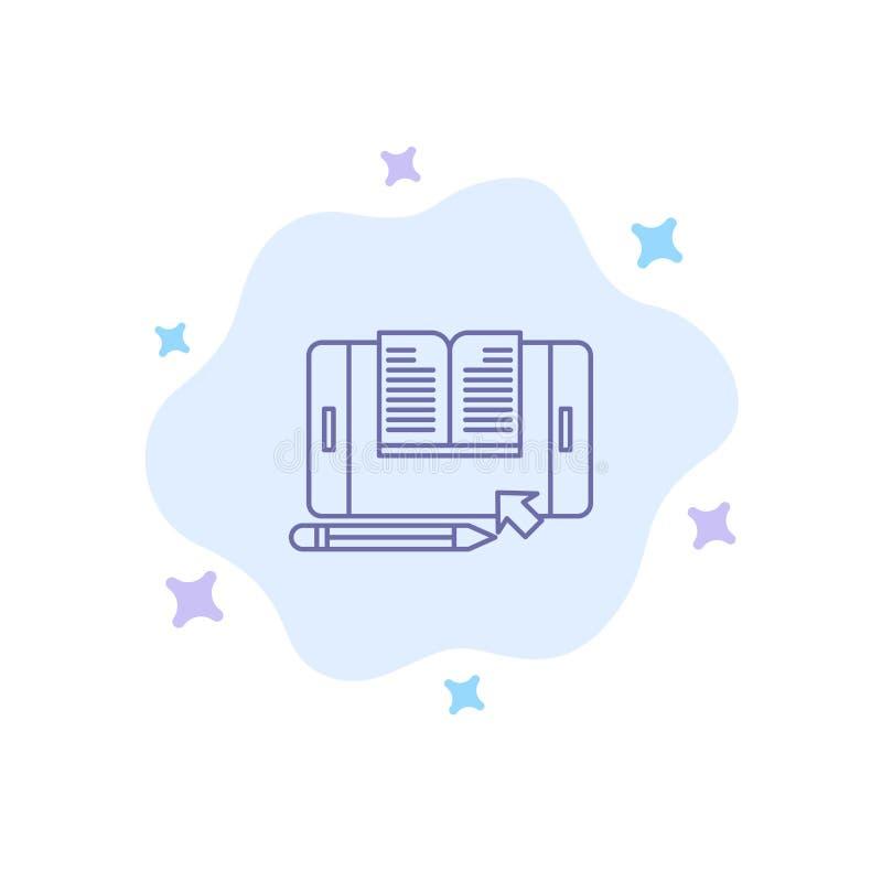 De toepassing, Dossier, Smartphone, Tablet, brengt Blauw Pictogram op Abstracte Wolkenachtergrond over stock illustratie