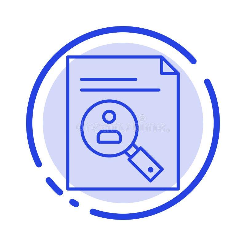 De toepassing, Klembord, Leerplan, Cv, hervat, bemant het Blauwe Pictogram van de Gestippelde Lijnlijn stock illustratie