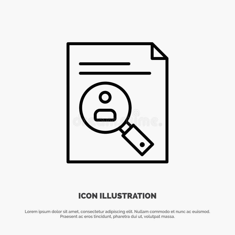 De toepassing, Klembord, Leerplan, Cv, hervat, het Pictogramvector van de Personeelslijn vector illustratie