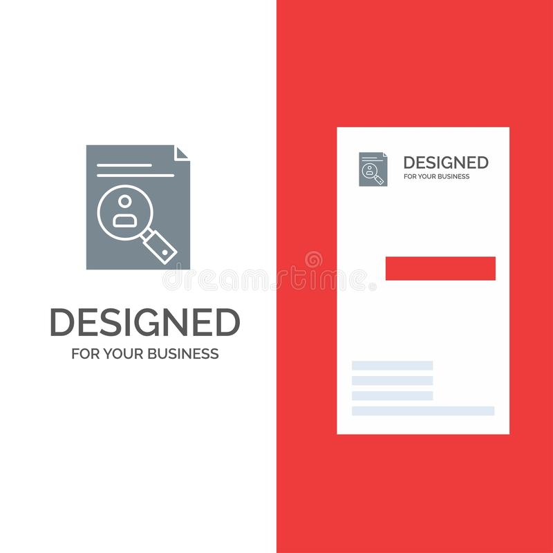 De toepassing, Klembord, Leerplan, Cv, hervat, Personeel Grey Logo Design en Visitekaartjemalplaatje stock illustratie