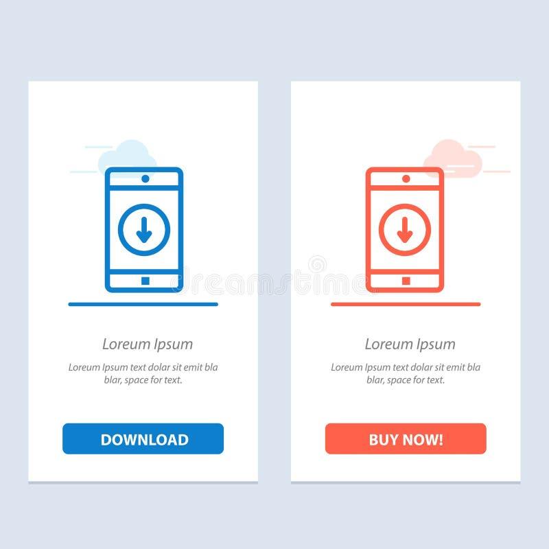 De toepassing, de Mobiele, Mobiele Toepassing, onderaan, de Pijl Blauwe en Rode Download en kopen nu de Kaartmalplaatje van Webwi royalty-vrije illustratie