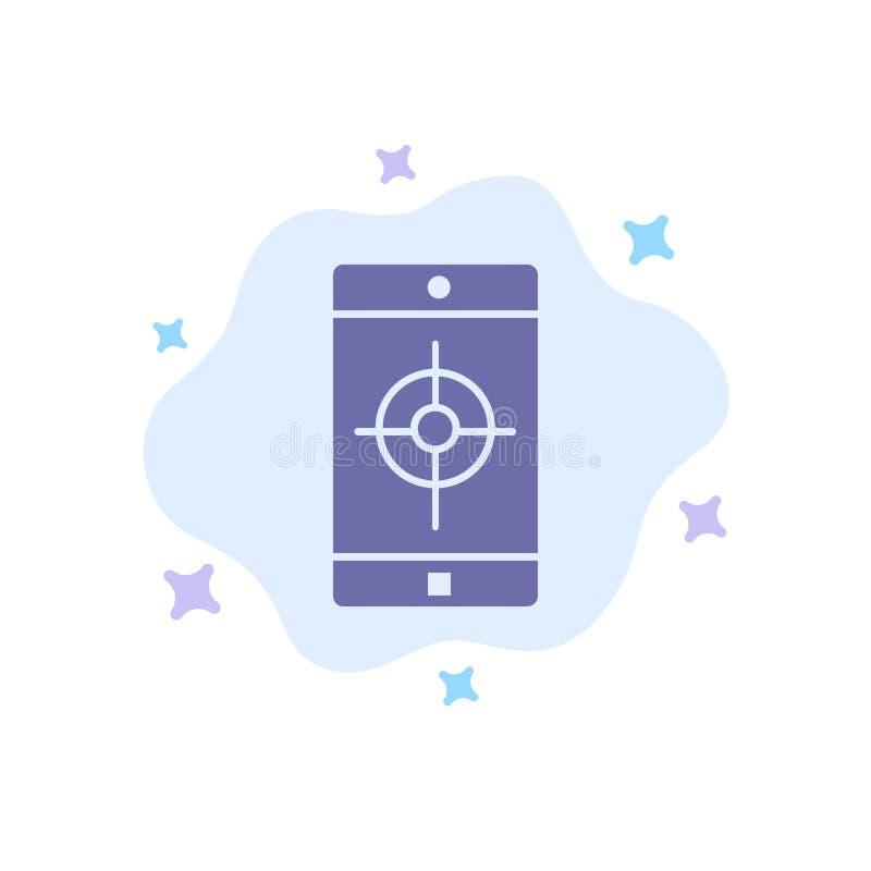 De toepassing, Mobiele, Mobiele Toepassing, richt Blauw Pictogram op Abstracte Wolkenachtergrond vector illustratie