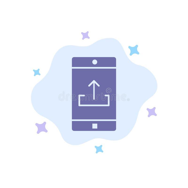De toepassing, Mobiele, Mobiele Toepassing, Smartphone, uploadt Blauw Pictogram op Abstracte Wolkenachtergrond vector illustratie