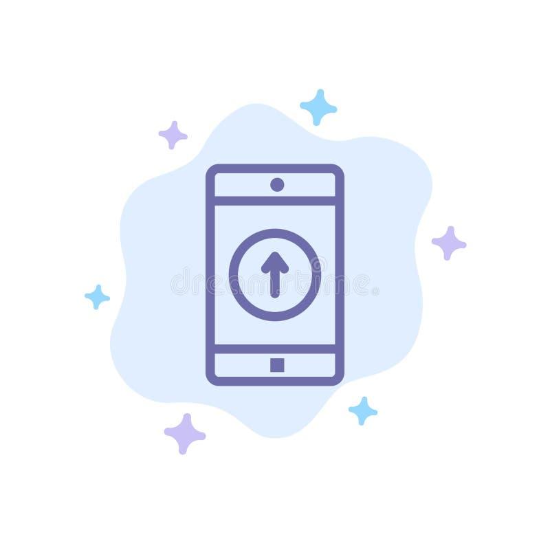 De toepassing, Mobiele, Mobiele Toepassing, Smartphone, verzond Blauw Pictogram op Abstracte Wolkenachtergrond vector illustratie