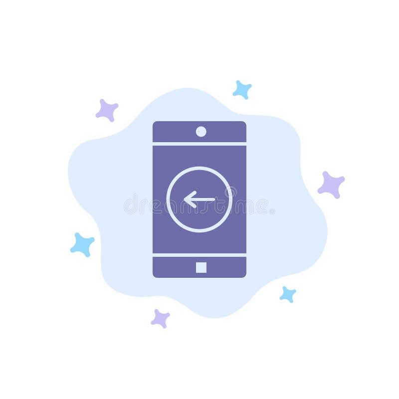 De toepassing, Mobiele, Mobiele Toepassing, verliet Blauw Pictogram op Abstracte Wolkenachtergrond royalty-vrije illustratie