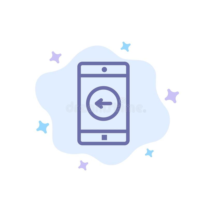 De toepassing, Mobiele, Mobiele Toepassing, verliet Blauw Pictogram op Abstracte Wolkenachtergrond stock illustratie