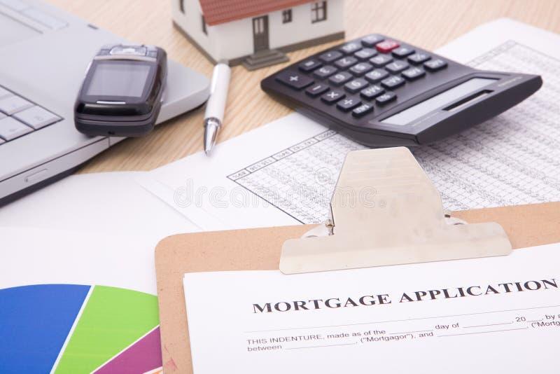 De toepassing van de hypotheek stock fotografie