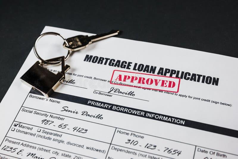 De Toepassing van de hypotheeklening keurde 002 goed stock foto's