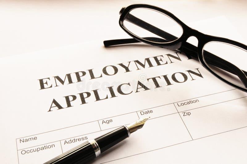 De toepassing van de werkgelegenheid stock foto
