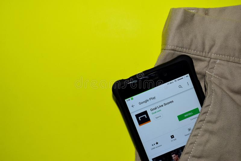 De toepassing van doellive scores dev op Smartphone-het scherm stock afbeelding