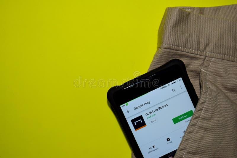De toepassing van doellive scores dev op Smartphone-het scherm stock fotografie