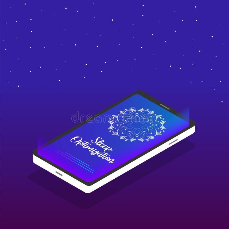 De toepassing van de slaapoptimalisering Mobiel telefoonpictogram in isometrisch ontwerp met een mandala op het scherm en de teks vector illustratie