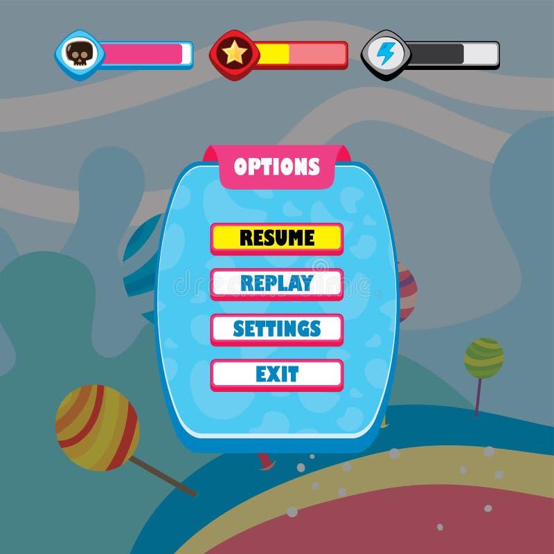 de toepassingsmobiele toepassing van het spel ui menu vector illustratie