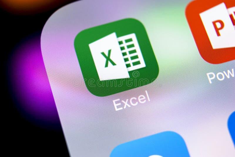 De toepassingspictogram van Microsoft Exel op Apple-iPhone X het schermclose-up Microsoft-het pictogram van bureauexel app Micros stock afbeeldingen