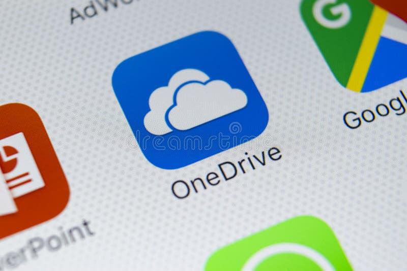 De toepassingspictogram van Microsoft OneDrive op Apple-iPhone X het schermclose-up Het onedrive app pictogram van Microsoft De t stock afbeeldingen