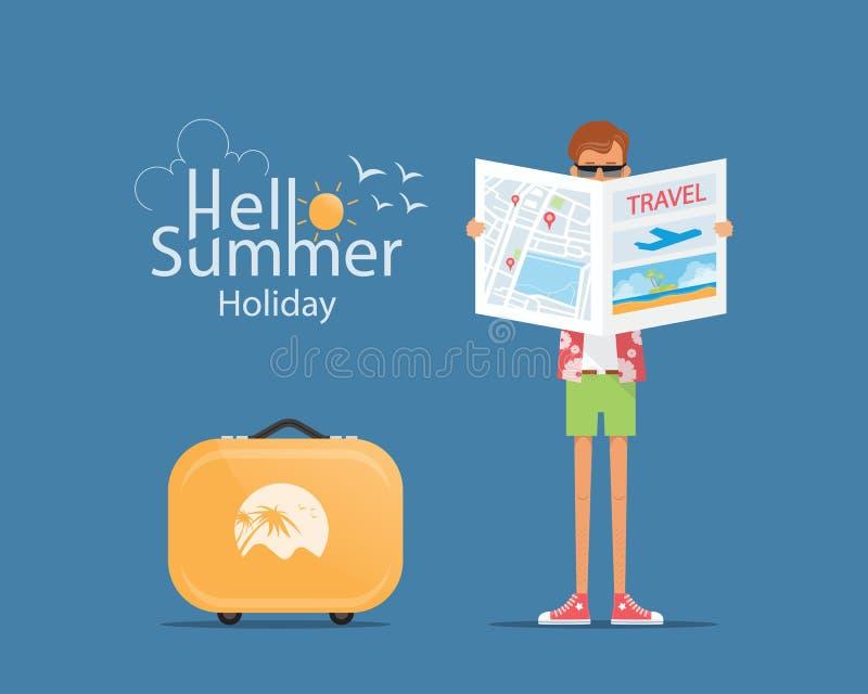 De toerist met bagage en het concept van de de zomervakantie vector illustratie