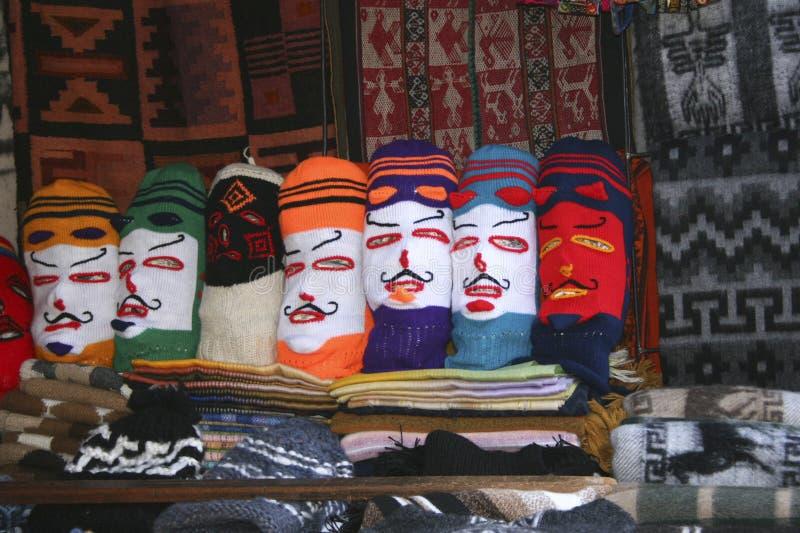 De toerist oriënteerde herinneringen bij de Pisac-stad van de de werelderfenis van Unesco van Marktcusco Peru royalty-vrije stock afbeelding