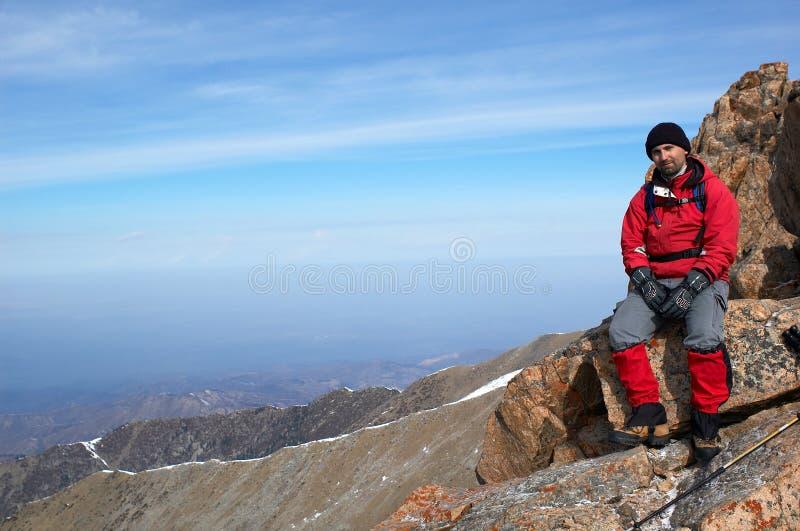 De toerist van de berg stock afbeelding