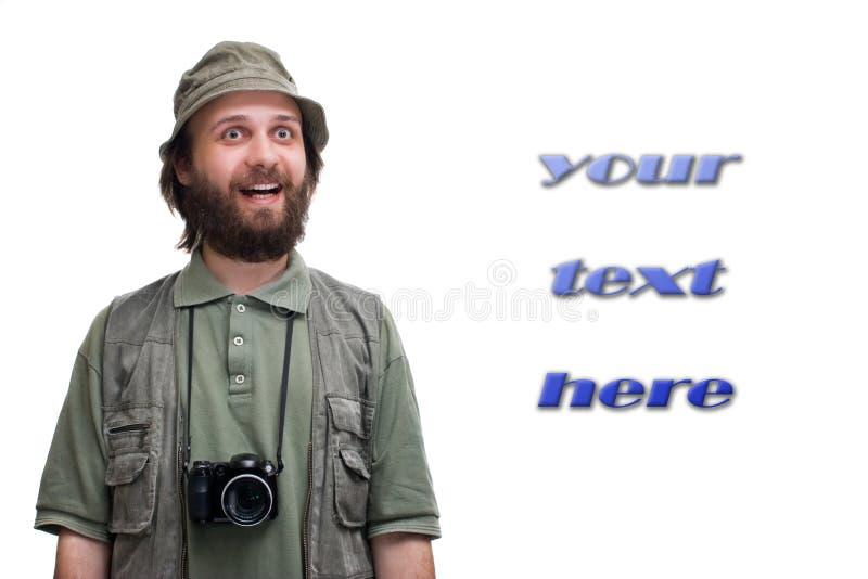 De toerist van de fotograaf met camera stock fotografie