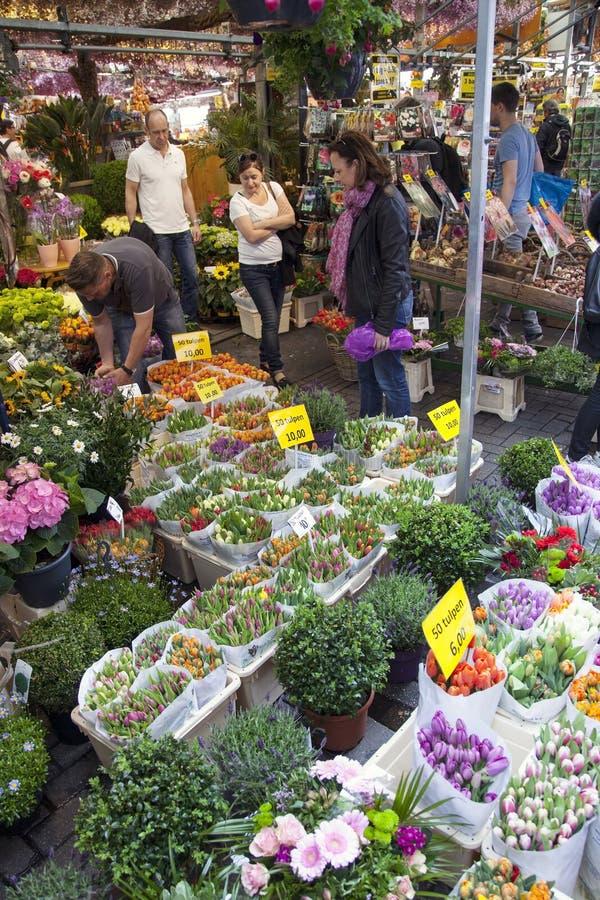 De toeristen bekijken koopwaar op de bloemmarkt van Amsterdam royalty-vrije stock afbeelding